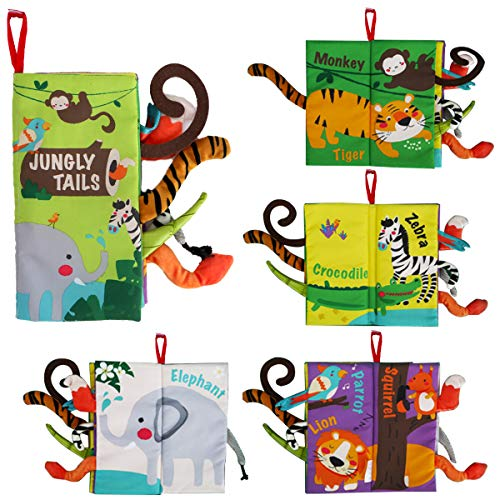 beiens Soft Baby Cloth Books,Touch and Feel Crinkle Tail Books, Cloth Books Set for Babies,Infants & Toddler Early Children Development Interactive Baby Toys Gift (Jungle