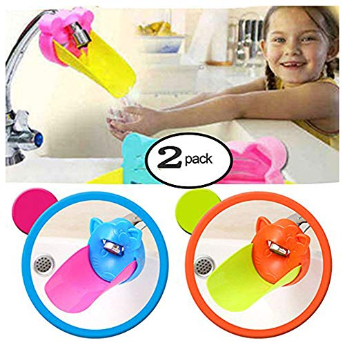 Faucet Extender for Kids - Set of 2 Animal Spout Extenders for Sink Faucets - Safe Fun Hand- Washing for Babies, Toddlers, Kids, Teach Your Kids Good Sanitation Habits (kitten,Blue and Orange)