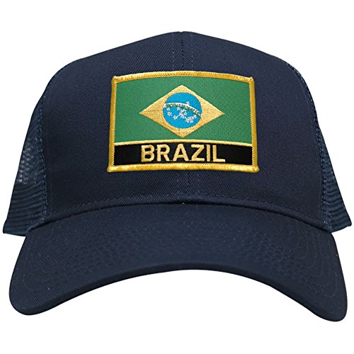 Brazil Embroidered Flag and Text Iron On Patch Adjustable Mesh Trucker Cap - (Brazil Flag Cap)