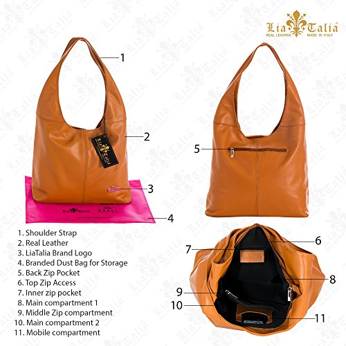 Shopper Italian Medium bag Beige Soft Light Leather Hobo Shoulder LIATALIA OLIVIA Genuine Sxw5qI8PY