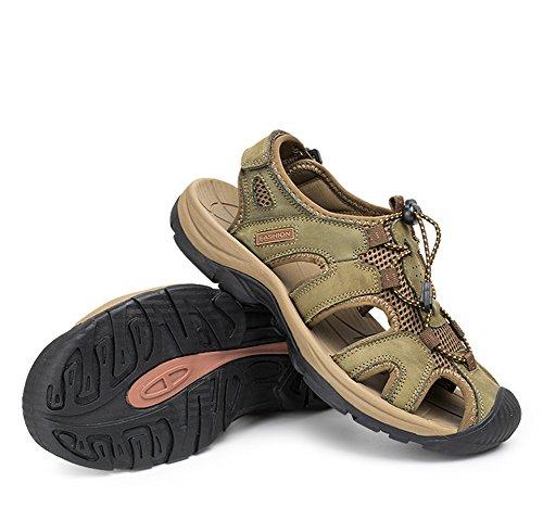 Giboie Men's Casual Summer Leather Hiking Beach Sandals Green 43 9