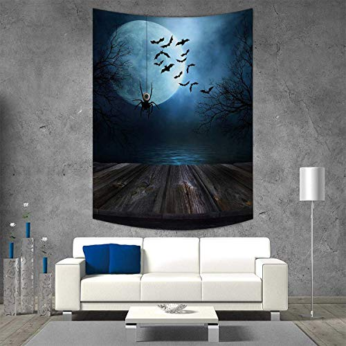 smallbeefly Halloween Vertical Version Tapestry Misty Lake Scene Rusty Wooden Deck Spider Eyeball Bats Ominous Skyline Throw, Bed, Tapestry Yoga Blanket 70W x 84L INCH Blue Brown -