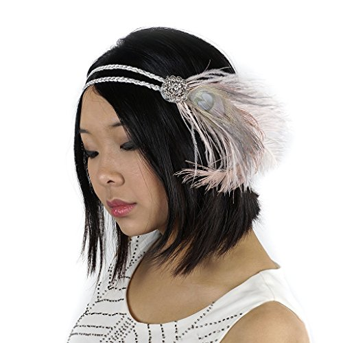 Feather Headband w/Ostrich/Peacock Champagne/Iris by ZUCKERTM