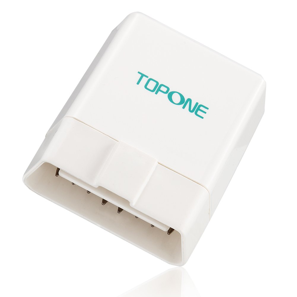 Bluetooth Car Diagnostic Scanner OBD2 OBDII Code Reader Adpater by TOPONE for iOS and Android White