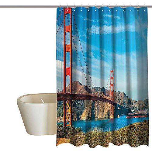 MaryMunger Apartment Decor Collection Bathtub Splash Guard Golden Gate San Francisco USA Clear Summer Sky Sunny Day Ocean Stones Touristic Place Image Travel Shower Curtain W48 x L84 Blue