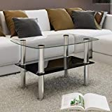 Coffee Table Metal Frame with Tempered Glass Top, Living Room Furniture, Black