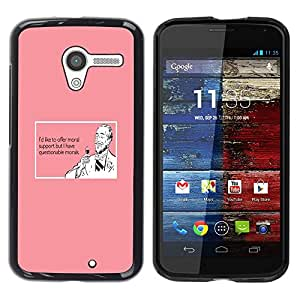 Design for Girls Plastic Cover Case FOR Motorola Moto X 1 1st GEN I Support Wine Drink Funny Quote Pink Man OBBA