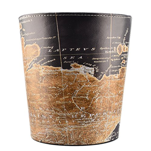 Wastebasket, GTKRTU PU Leather European Style Retro Trash Can Waste Paper Basket Waste Can Wastebin Dustbin Garbage Bin Without Lid - Map Pattern (Baskets Style European)