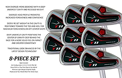 "BIG Tall Extra Custom Made Long Xl Taylor Fit Xxl Irons Golf Clubs Tour Power Swift Speed +2"" Iron Set: 4, 5, 6, 7, 8, 9, Pw + Free Sw (Matching Sand Wedge) by T-11 Power Back"