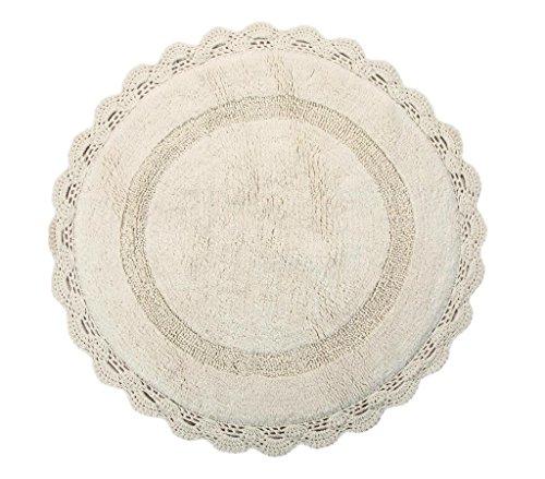 WARISI - Designer round Handknit Crochet cotton area rug, 3 feet (Ivory) (Round Crochet Rug)