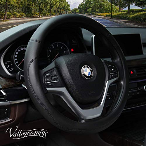 Valleycomfy Microfiber Leather Steering Wheel Covers Universal 15 inch (Black) (Best 4 Wheel Drive Cars 2019)