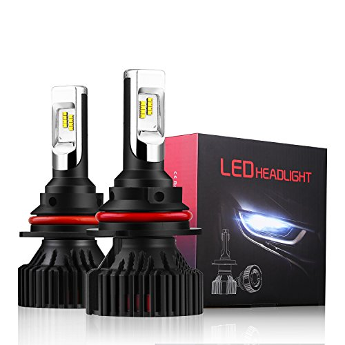 Alla Lighting UM-2018 Newest Version 8000 Lumens Extremely Super Bright Cool White High Power Mini 9007 HB5 LED Headlight Bulb Dual High Low Beam All-in-One Conversion Kits Headlamps Bulbs Lamps