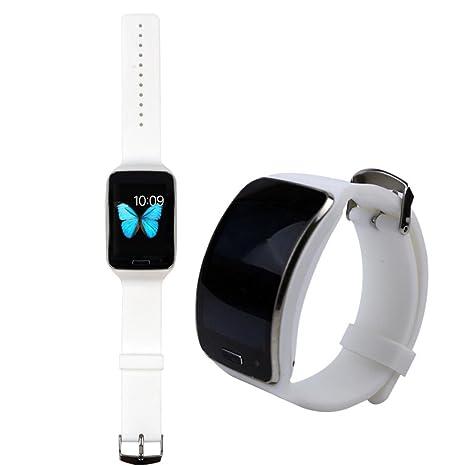 Malloom reemplazo correa de reloj pulsera muñequera bandas para Samsung Galaxy Gear S R750 (blanco