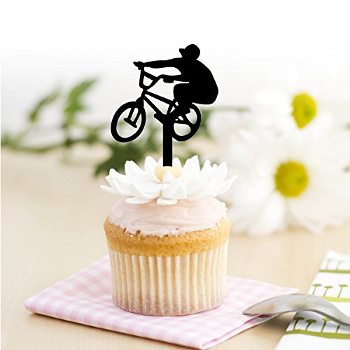 Ecape Cupcake Toppers,Bicycle Acrylic Toppers For Bridal Shower, Birthday,Wedding Table Cake Decorations DIY Party Favors Kits Cupcake Picks Set of 8 (Bicycle) (Favors Box Personality)