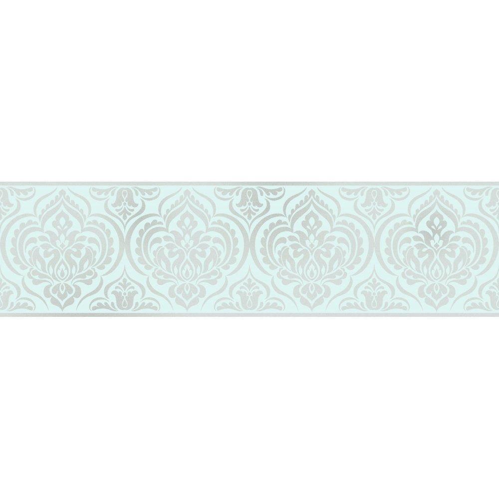 Fine Decor Glitz Ornamental Damask Glitter Wallpaper Border Teal / Silver (DLB50147)