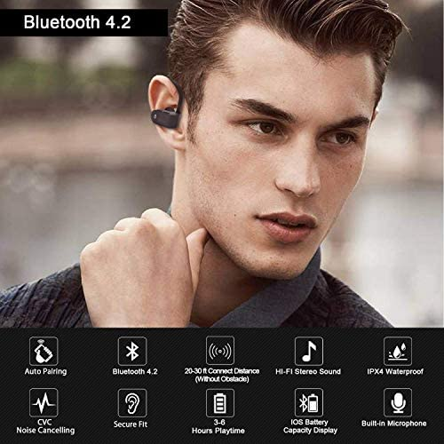 Bluetooth Headsets, Wireless Earbuds Lightweight & Fast Sports Earphones IPX7 Waterproof HD Stereo Sweatproof Noise Cancelling Headsets Gym Running,for iPhone Android Samsung Apple AirPods Pro