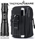 TacticalGearz LED Flashlight Bundle! High Power Military Grade Aluminum LED Tactical Flashlight Nested inside. Tactical Day Pack! (Black)