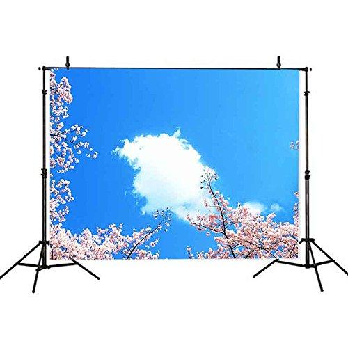 Vvm 7 x 5ft Nature SceneryバックドロップBloomingピーチ写真背景ブルー空とホワイトクラウドYoutubeの画像の背景背景幕gyvv178   B07DFFPL78