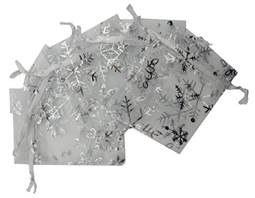 [Ankirol 100pcs Mini Organza Favor Bags 2.8x3.6'' Jewelry Candy Gift Bags Samples Display Money Organizer Little Things Drawstring Pouches Snowflake With Silver Print (white)] (2 Snowflake)
