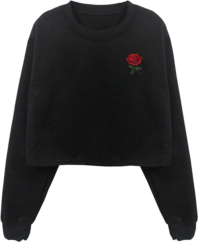 SZT Womens Crop Top Teen Girls Cropped Hoodie Rose Letter Print Sweater Jacket Sweatshirt Jumper Pullover Tops Clearance