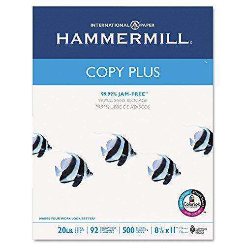 Hammermill Copy Plus Multipurpose Inkjet & Laser Paper, 8 1/2'' x 11'' Letter, 92 Bright White, 20 lb., 5000 Sheets/Case Carton (105007) (3, DESIGN 1) by Hammermill