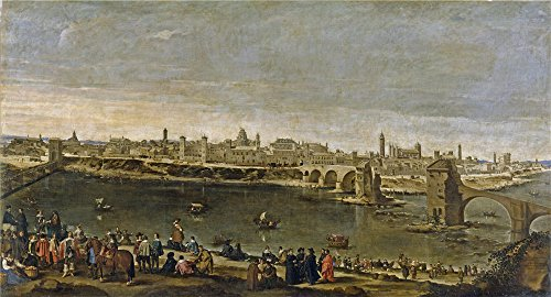 The polyster Canvas of oil painting 'Martinez del Mazo Juan Bautista View of the City of Saragossa 1647 ' ,size: 8 x 15 inch / 20 x 38 cm ,this Best Price Art Decorative Canvas Prints is fit for Nursery gallery art and Home gallery art and Gifts