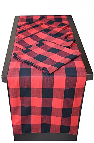 - Dining Table Runner and Dinner Napkins Combo Set Bufallow check, Bohenian Party Decorations, Mexican Serape Table Runner, Family Dinners or Gatherings - 1PC TR 14x72, 4PC Napkins 20x20- Red-Black