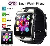 Bluetooth Reloj Inteligente con Cámara, Ezone Reloj Inteligente para Android Teléfonos Inteligentes, Q18 Smart Watch - Plata