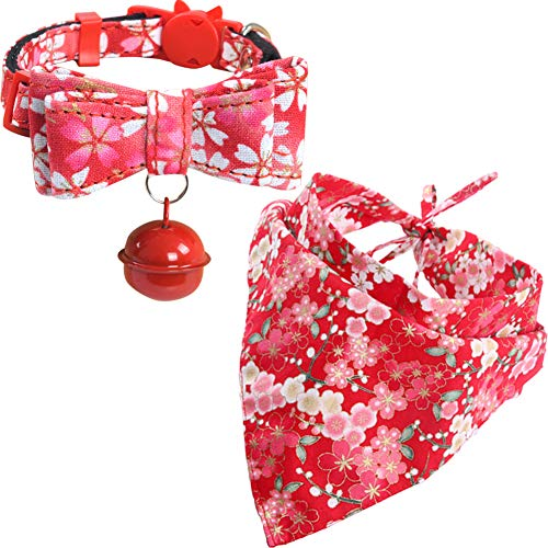 - KZHAREEN Cat Collar and Bandana Set Collar Breakaway with Cute Bow Tie Bell Japanese Style Scarf Triangle Bibs Kerchief