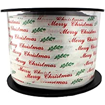 White Merry Christmas Curling Ribbon - 200 Yard Roll, 1/4 Inch Wide, Gift Wrapping, Crimped