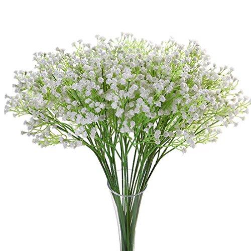 JUSTOYOU 5PCS Artificial Babys Breath Flower Fake PU Silica Gypsophila for Wedding Bridal Bouquet Home Floral Arrangement Decor