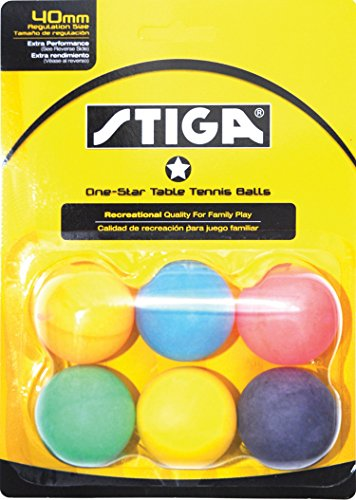 STIGA 1-Star Assorted Multicolor Recreational-Quality Regulation Size 40mm Table Tennis Balls (6 Pack) ()