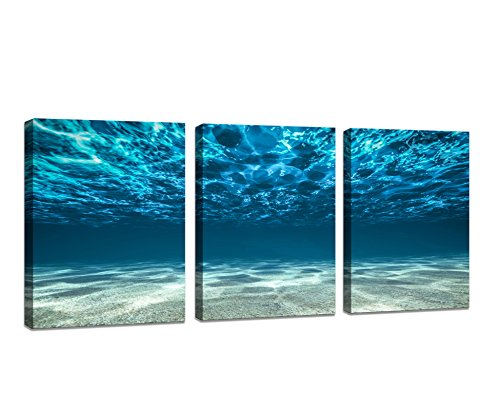Baisuart Wall Art 3 Panels Print Artwork Blue Ocean Sea Canvas Prints Picture Seaview Bottom View Beneath Surface Pictures Painting On Canvas Modern Seascape Home Office Decor