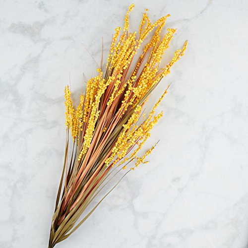 (Factory Direct Craft Artificial Yellow Berry Cluster and Onion Grass Bush | for Indoor)