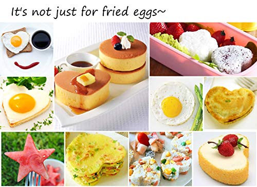 10Pcs Omelette Mold Fried Egg Mold Set in 10 Different Shapes Stainless Steel Fried Egg Ring with 1 Silicone Pastry Brush - Set of 11 by FDIO (Image #7)