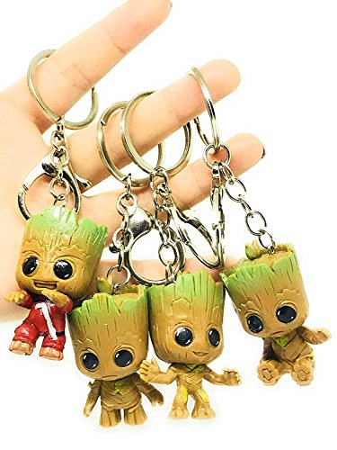 Micro Landscape Design Set of 4 Miniature Super Cute Baby Groot Keychains Prefect Gift Must Have Action Figure Accessories (0.5 Ounce Keychain)