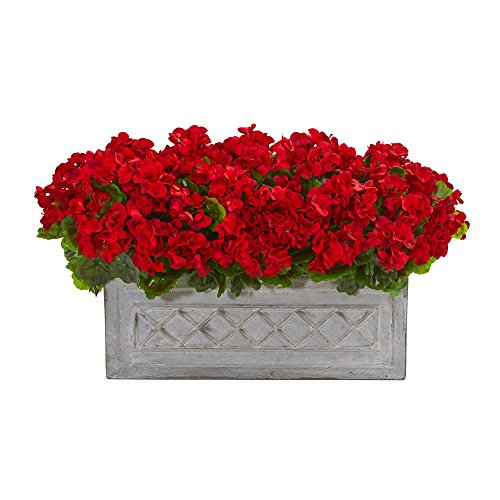 "Geranium Planter - Nearly Natural 8061-RD 18"" Geranium Artificial Plant in Stone Planter UV Resistant (Indoor/Outdoor), Red"