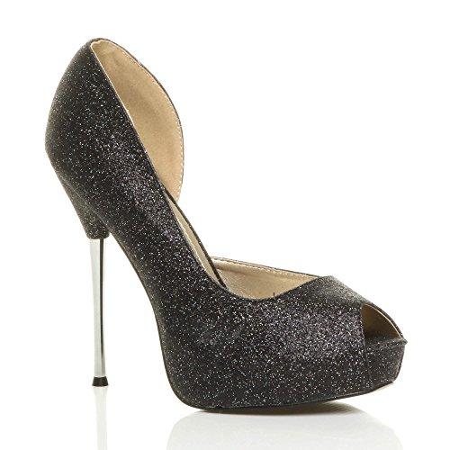 D'orsay Talon Femmes Paillettes Bout Haut Pointure Aiguille Noir Chaussures Ouvert Escarpins PtPnqAw1