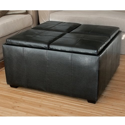 Best Choice Products Leather Ottoman With 4 Tray Tops Storage Bench Coffee Table Black Leather