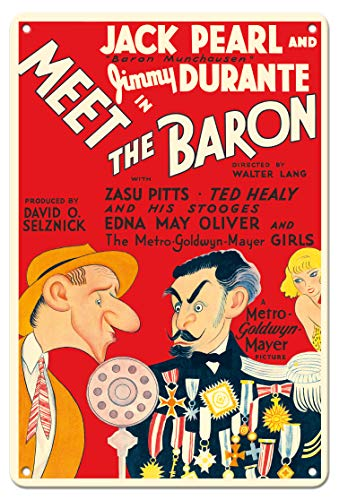 - Pacifica Island Art 8in x 12in Vintage Tin Sign - Meet The Baron - Starring Jimmy Durante, Jack Pearl - Vintage Film Movie Poster by Al Hirschfeld c.1933