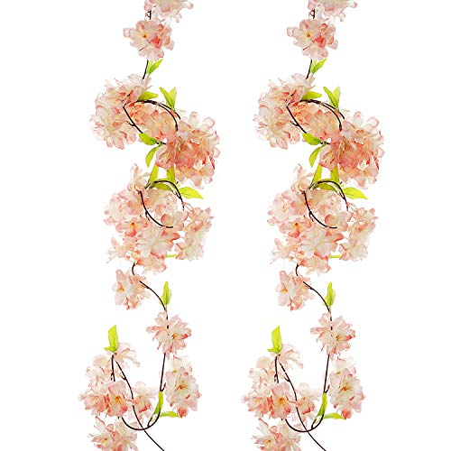 BEFINR Artificial Cherry Blossom Vine Champagne Petal Flower Forever Plant Garland for Art Home Decoration Wedding Party Garden Office 2 Pack