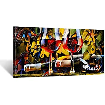 iKNOW FOTO Kitchen Wall Art Canvas Artwork Red Wine Glasses Bottles Canvas  Painting Printed on Canvas Contemporary Artwork Pictures for Dining Room ...