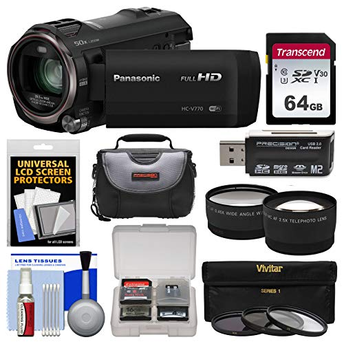 Panasonic HC-V770 Wireless Smartphone Twin Recording Wi-Fi HD Video Camera Camcorder with 64GB Card + Case + 3 Filters + Tele/Wide Lens Kit