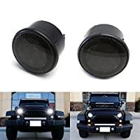iJDMTOY (2) Smoked Lens White LED Halo Ring Daytime Running Lights, Amber LED Turn Signal Lamps For 2007-2017 Jeep Wrangler JK, Unlimited