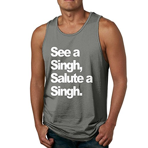 98f8efe68f956 Quliuwuda Mens See A Singh (Deluxe White Print) by HumbleP Casual Style  Jogging DeepHeather Shirts XXL Tank Tops