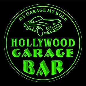 4x ccpp2225-g HOLLYWOOD Garage Basement Bar Beer 3D Coasters