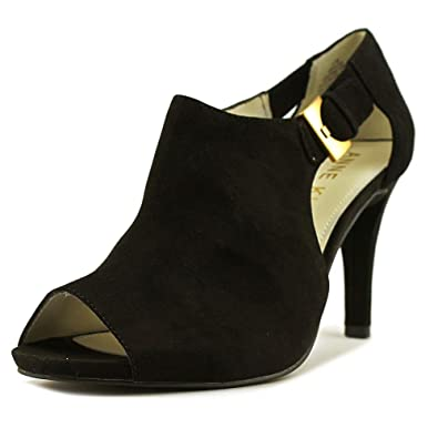 Anne Klein Womens Lita Suede Open Toe Classic Pumps Black Size 9.5