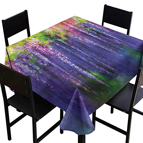 home1love Flower Washable Tablecloth Ornamental Wisterias Pattern for Events Party Restaurant Dining Table Cover 50 x 50 Inch