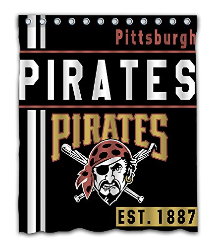 Pittsburgh Baseball Team Emblem Waterproof Shower Curtain Blue Design Polyester for Bathroom Decoration 60 x 72 Inches with 12-Pack Plastic Hooks (Pittsburgh Pirates Bed)