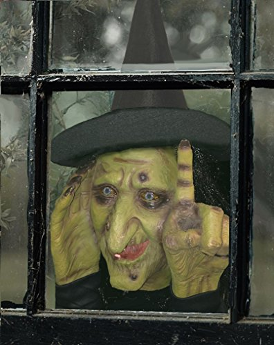 Scary Halloween Witches (Scary Peeper Electronic Tapping Halloween Decoration - Motion Activated Peeping Tom Witch That Looks In And Taps - Easily Attaches To Any Window)